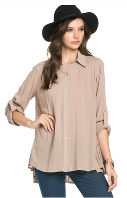 Leah Button-Up Taupe Blouse