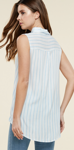 Bethany Blue & White Stripped Collard Tank