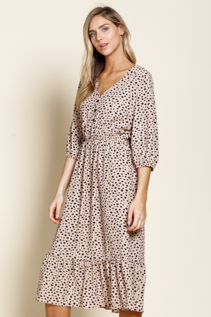 Alythea Animal Dot Print Midi Dress