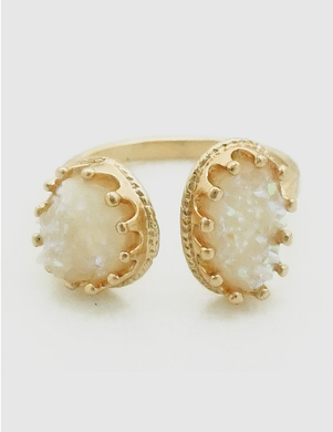 Ells Adjustable Gold Cuff Ring in White
