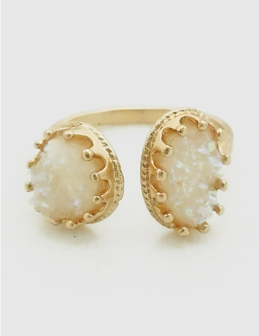Ella Adjustable Gold Cuff Ring in White