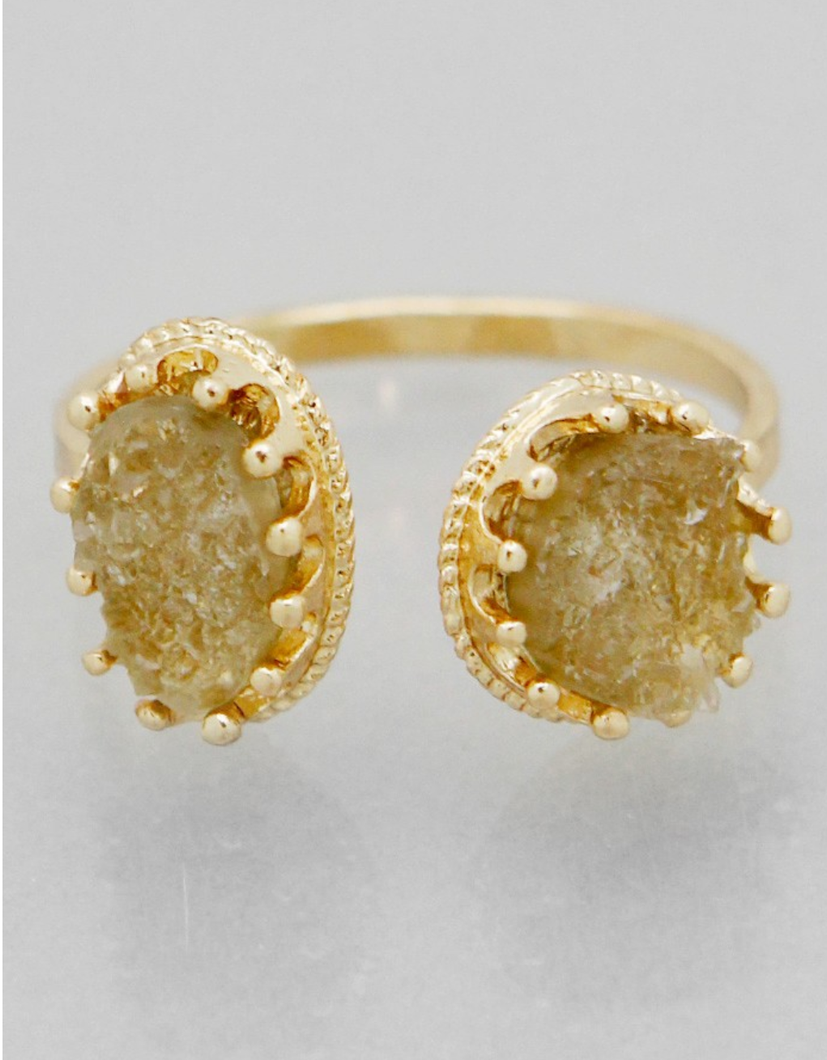 Ella Adjustable Gold Cuff Ring in Gold
