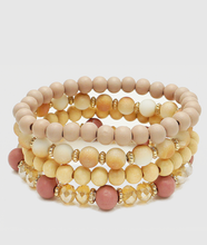 Tina 4 Layer Wood Bracelets in Pink