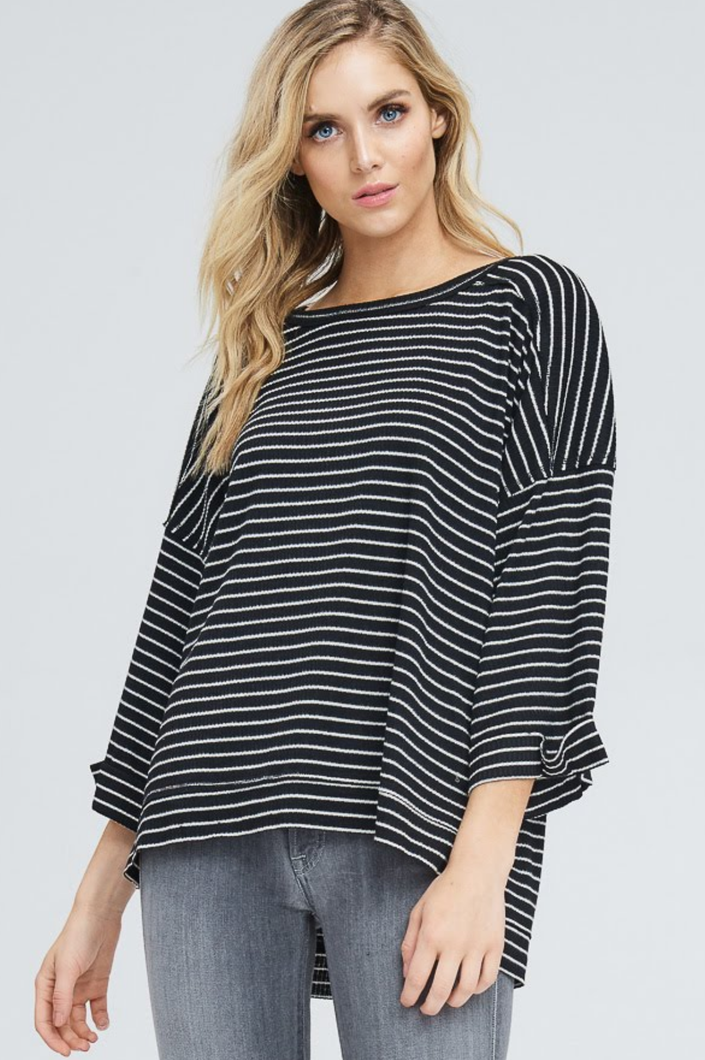 Baby It's Cold Black and White Striped Ribbed Sweater
