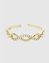 Cubic Zirconia 18k Gold Adjustable Ring