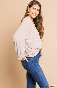 Hailey Heathered Ribbed Blouse