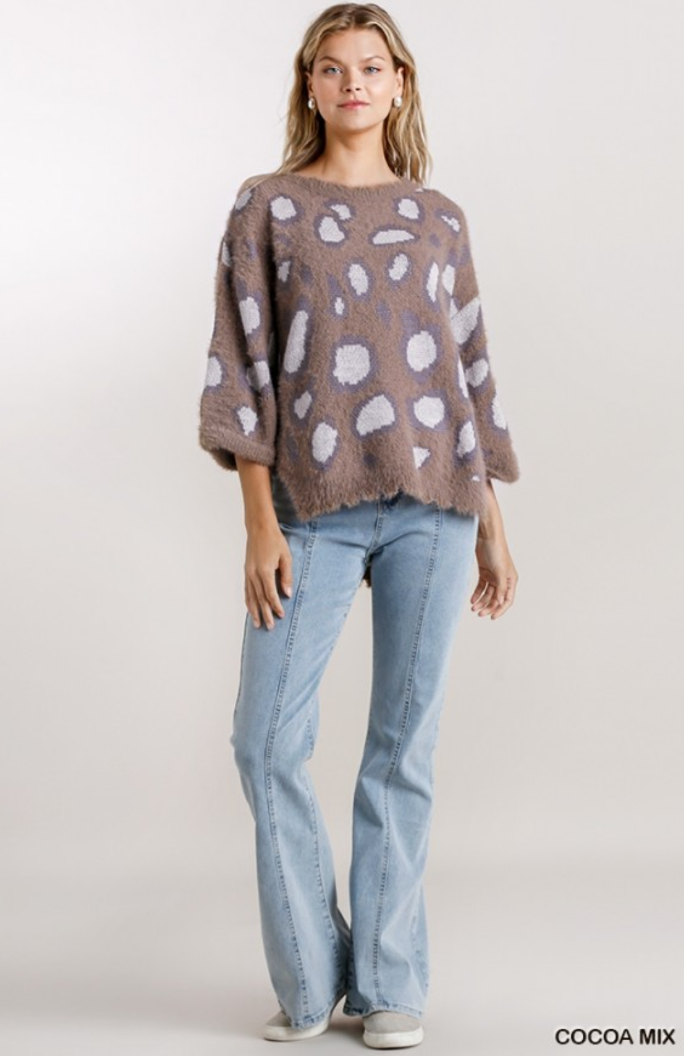 Layla Animal Print 3/4 Sleeve Sweater