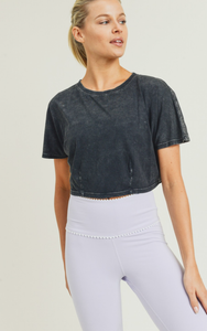 Liz Cropped Mesh Workout Top