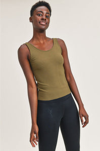 Ribbed Scoop-Back Tank Top in Olive