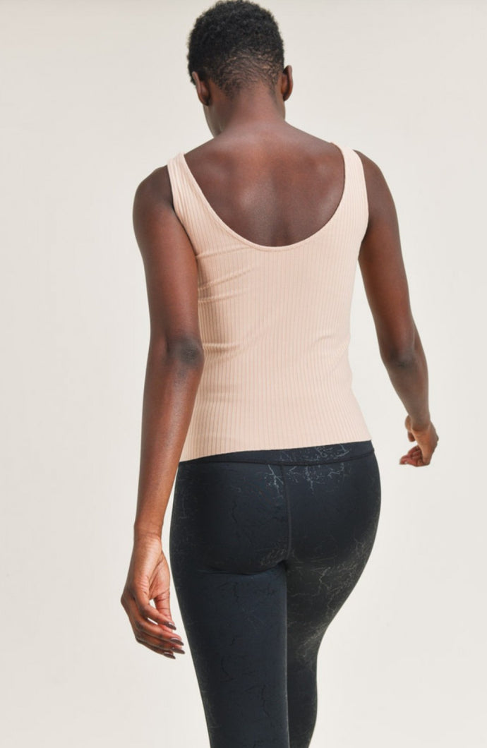 Ribbed Scoop-Back Tank Top in Sandstone