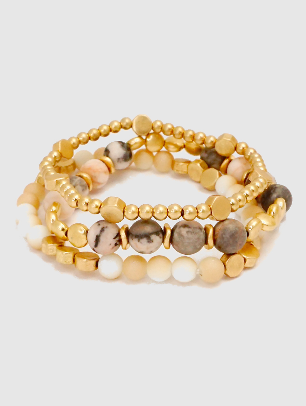 Semi-Precious Stone with Metal Beaded Stretch Bracelets in Pink
