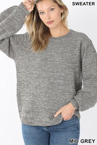 Savannah Balloon Sleeve Sweater in Gray