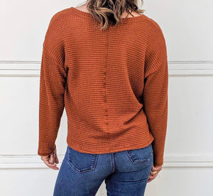 Izzy Waffle Knit Sweater in Rust