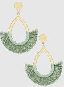 The Tatiana Moss Green Teadrop Tassel Earrings