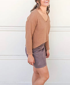 Izzy Waffle Knit Sweater in Tan