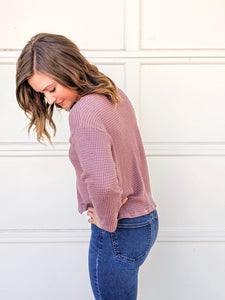 Izzy Waffle Knit Sweater in Blush