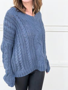 Kendra Cable Knit Sweater in Blue
