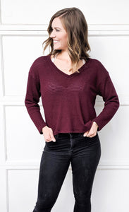 Izzy Waffle Knit Sweater in Burgundy