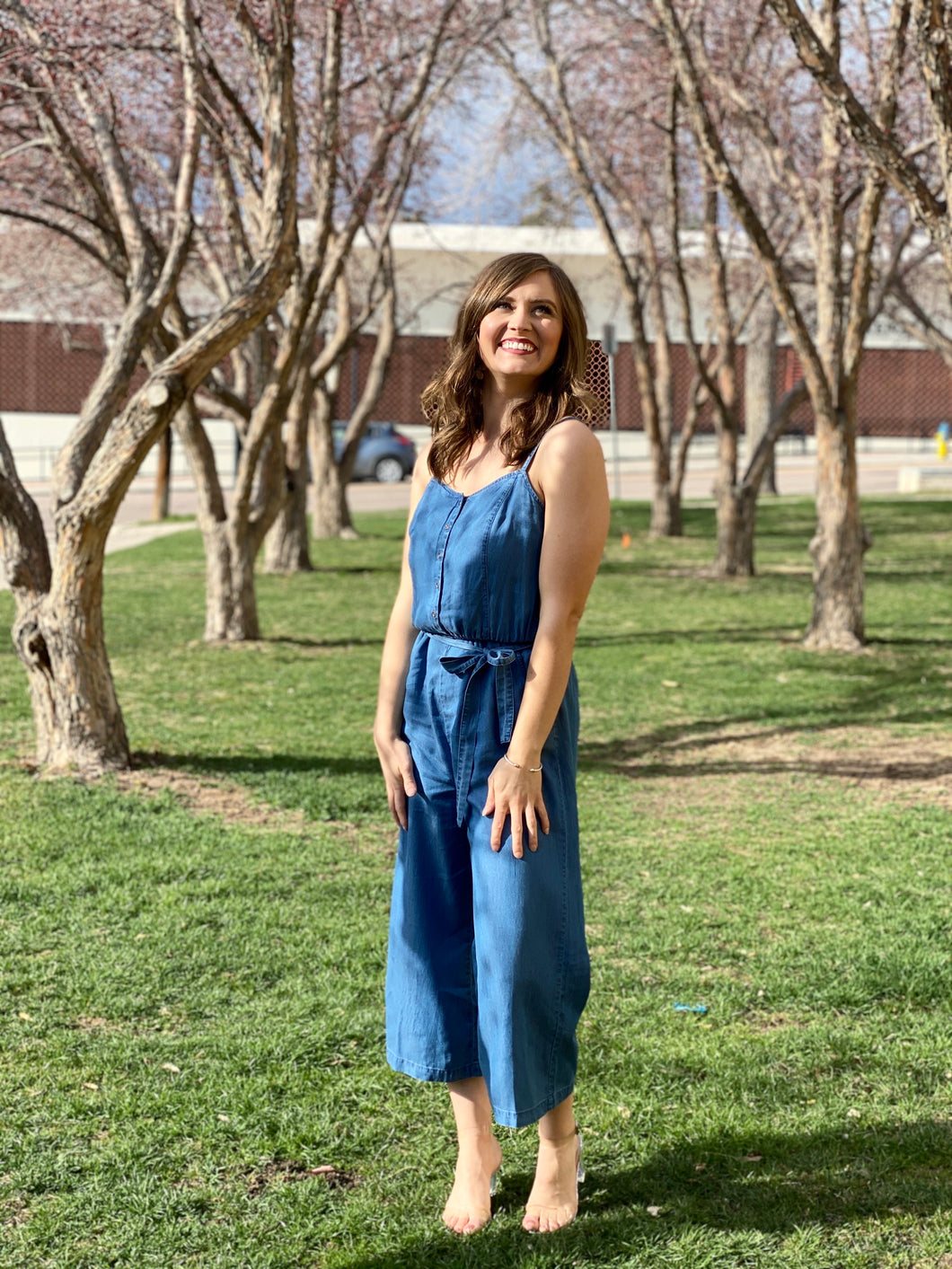 Kelly Cropped Denim Jumpsuit