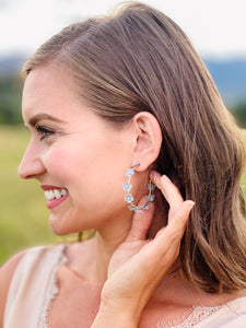 Charlotte Light Blue Floral Hoop Earrings