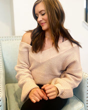 Amberlynn Off the Shoulder Waffle Knit Sweater in blush