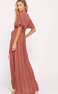 Joanna Wrap Maxi Dress in Brick