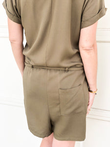 Hailey Button Up Olive Romper