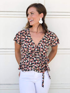 Ally Floral Wrap Blouse