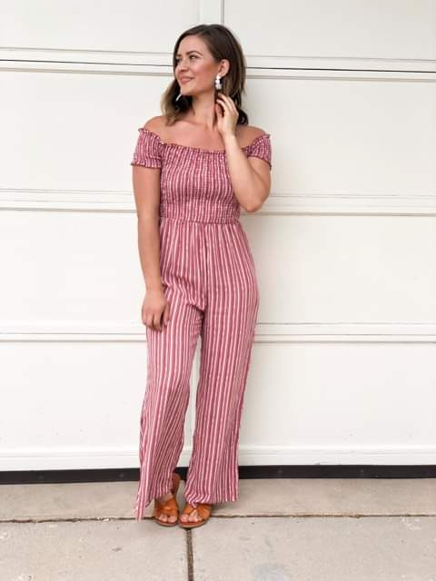 Cathrine Striped Off the Shoulder Jumpsuit