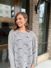 Hiedi Scalloped Sweater in Gray