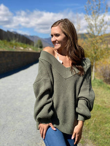Amberlynn Off the Shoulder Waffle Knit Sweater in green