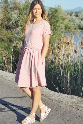 AMELIA STRIPED DRESS IN PINK