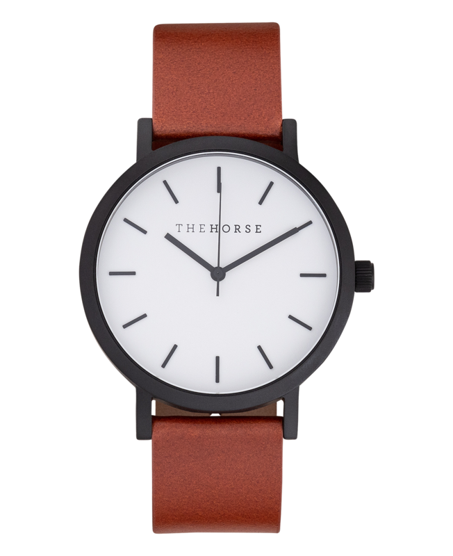 THE ORIGINAL WATCH MATTE BLACK / WHITE FACE/ TAN LEATHER STRAP