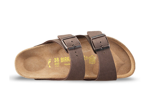 BIRKENSTOCK ARIZONA BIRKO-FLOR NUMBUCK IN MOCCA