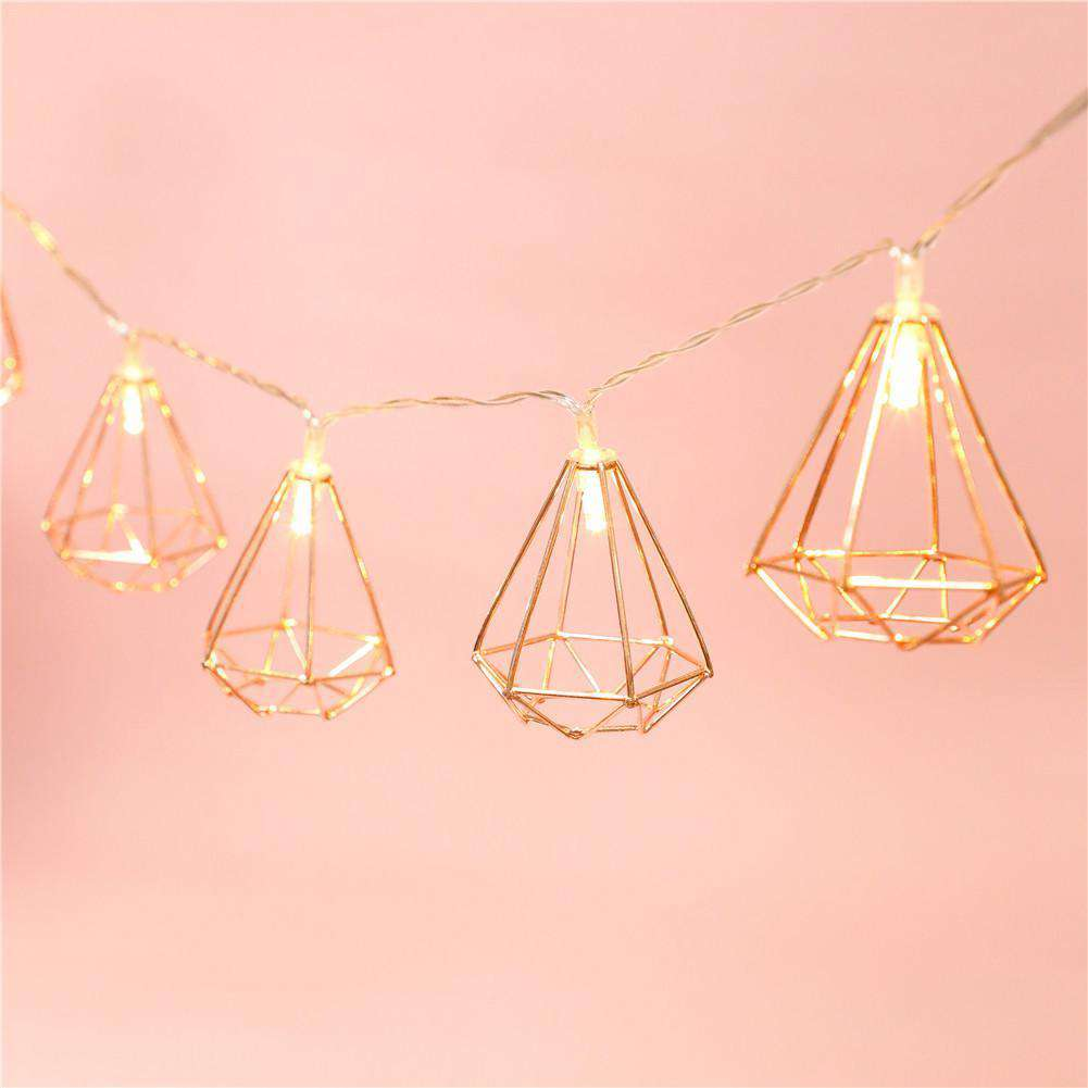 1.5m Festive Party Decor Rose Gold Hexagon Shape Battery LED String Lights Birthday Wedding Decorative Led Light Pendant, , www.suppashoppa.co.uk