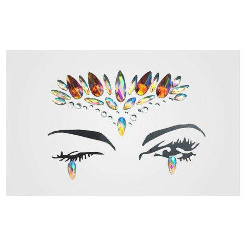 1 Sheet Handpicked Bohemia Tribal Style 3D Crystal Sticker Face And Eye Jewels Party DIY Decor Temporary Tattoo Sticker, 4, www.suppashoppa.co.uk