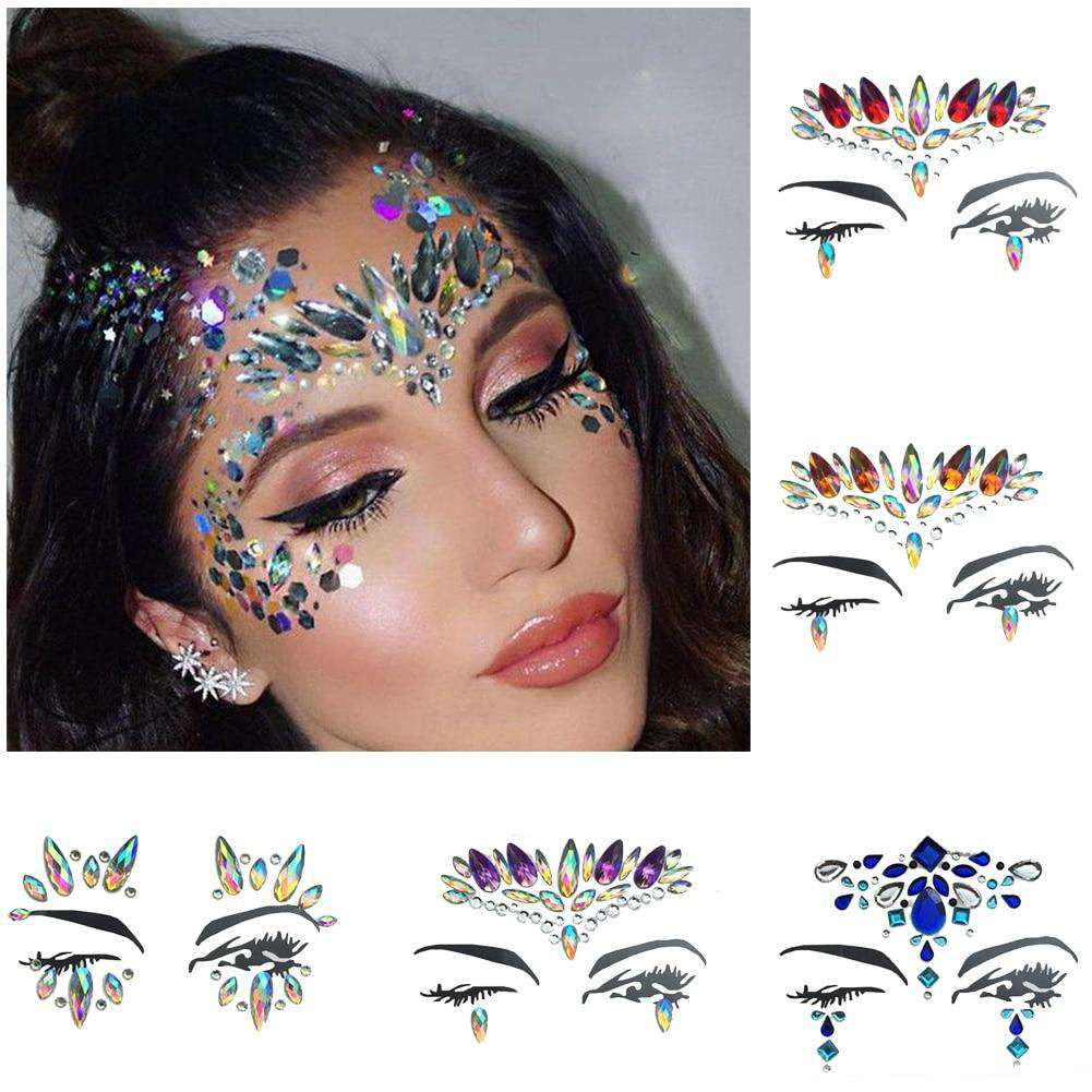 1 Sheet Handpicked Bohemia Tribal Style 3D Crystal Sticker Face And Eye Jewels Party DIY Decor Temporary Tattoo Sticker, , www.suppashoppa.co.uk