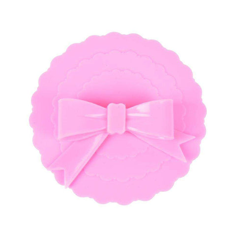 10.5cm Lovely Bowknot Cup Cover Anti-dust Silicone Glass Cup Cover Coffee Suction Seal Lid Cap