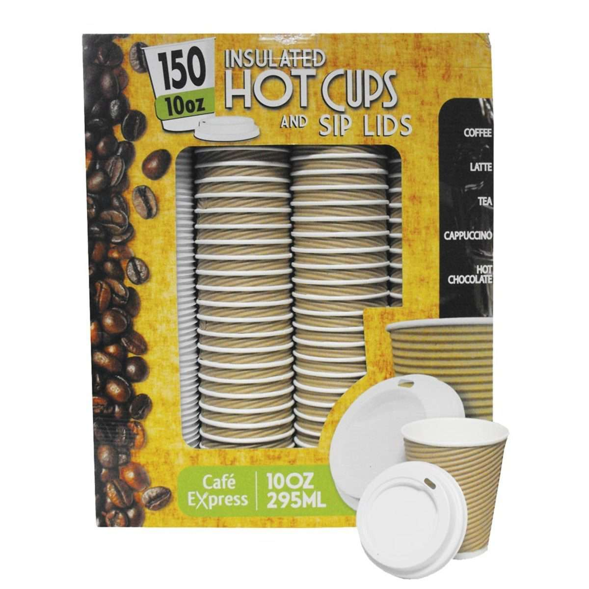 Cafe Express 10oz / 295ml Insulated Hot Cups with Sip Lids, 150 PackCafe Express 10oz / 295ml Insulated Hot Cups with Sip Lids, 150 Pack