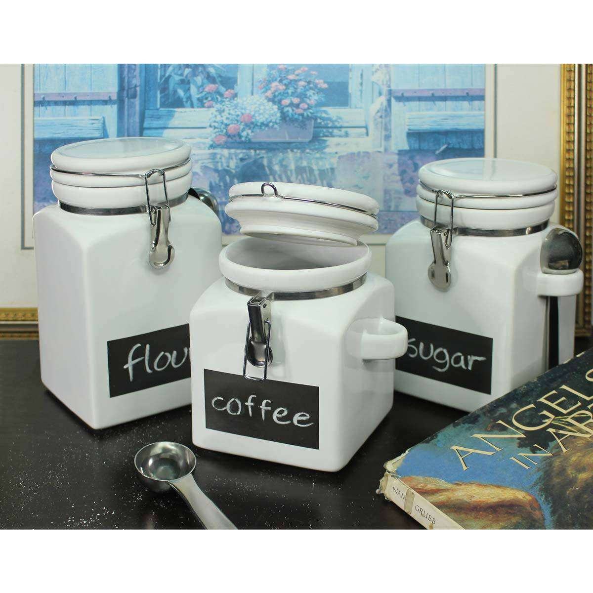 Stoneware Canisters with Chalkboard Fronts, 3 PackStoneware Canisters with Chalkboard Fronts, 3 Pack