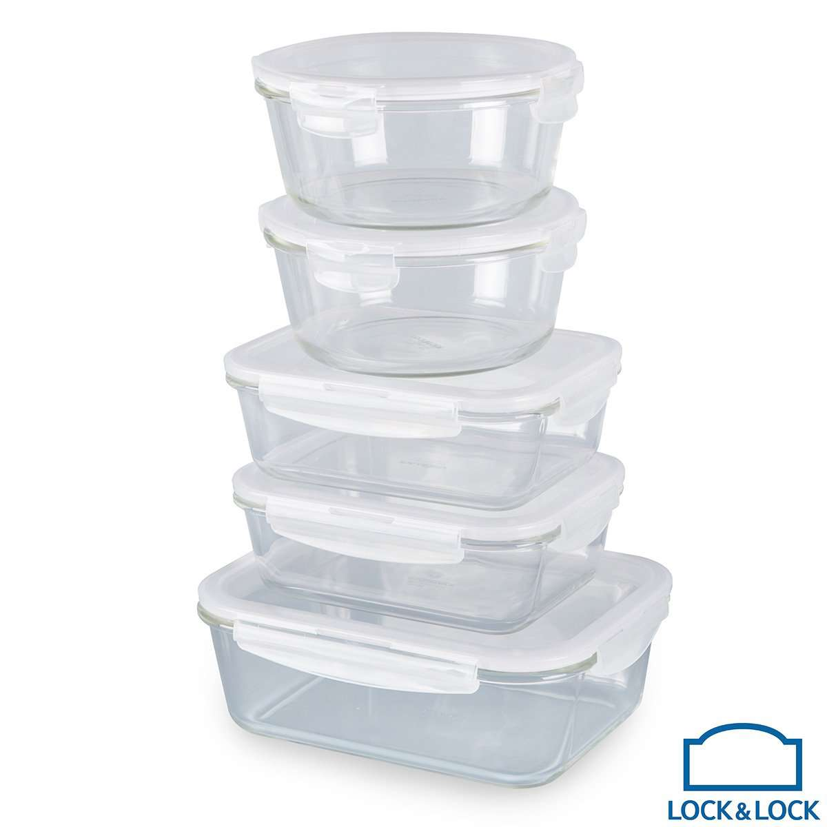 LOCK&LOCK Oven Glass Food Storage Containers, 5 Piece Set with LidsLOCK&LOCK Oven Glass Food Storage Containers, 5 Piece Set with Lids