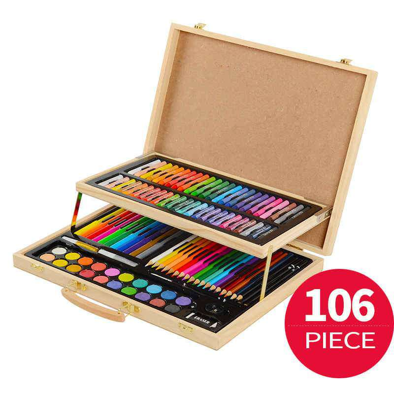 106 pieces Art Set Painting Set for Kids Children Drawing Color Pens Crayons with Wood Case Art Painting Drawing Tools, , www.suppashoppa.co.uk