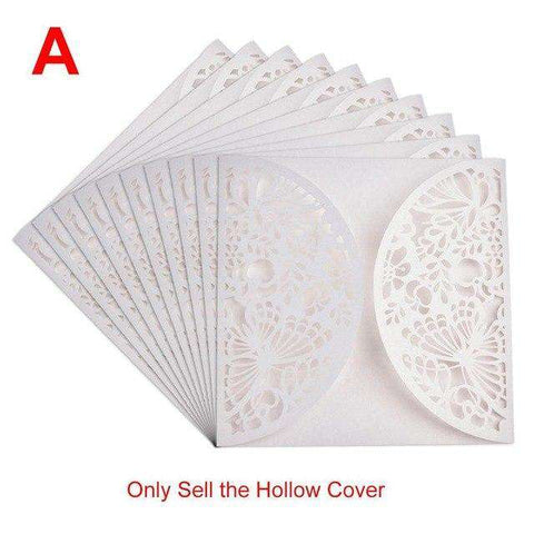 10PCS European Style Elegant Delicate Carved Lace Wedding Party Invitations Cards Wedding Party Decoration