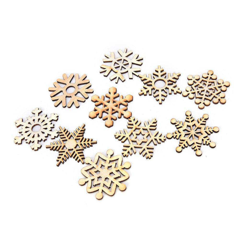 10Pcs Wooden Snowflake Pendant Handmade Scrapbooking Carft for Christmas Tree and Wind Chime Decoration