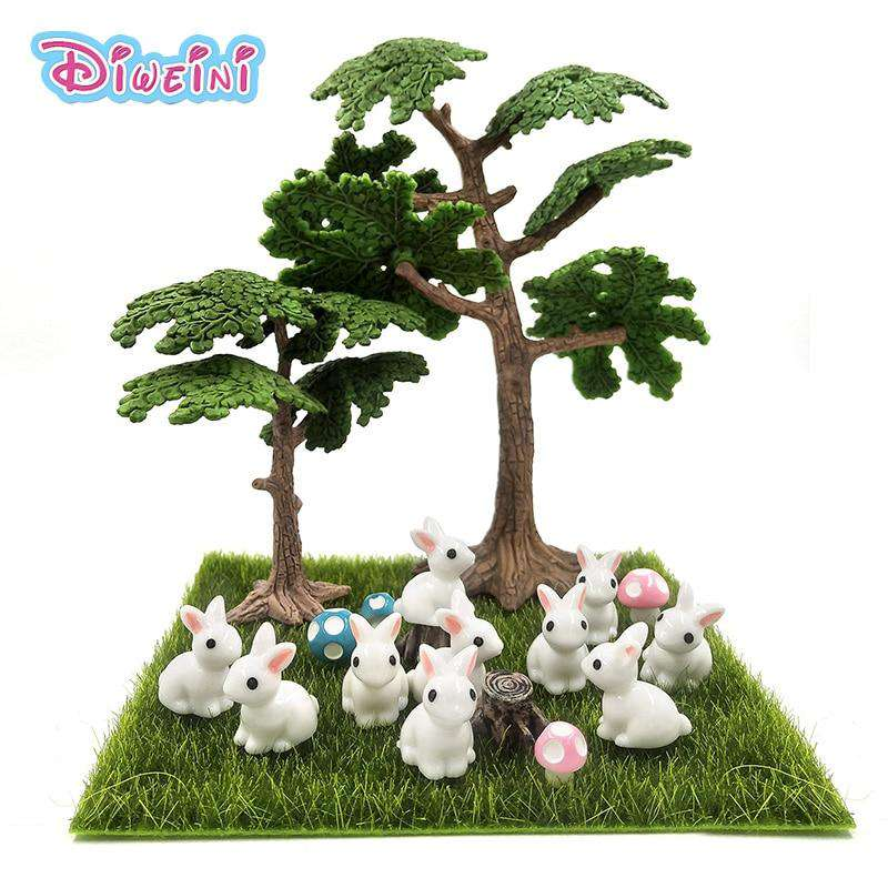 10pc/lot White Rabbit Miniature Figurine Cute cartoon Figures animal models Pet toy DIY Accessories Doll House toy Decoration, , www.suppashoppa.co.uk