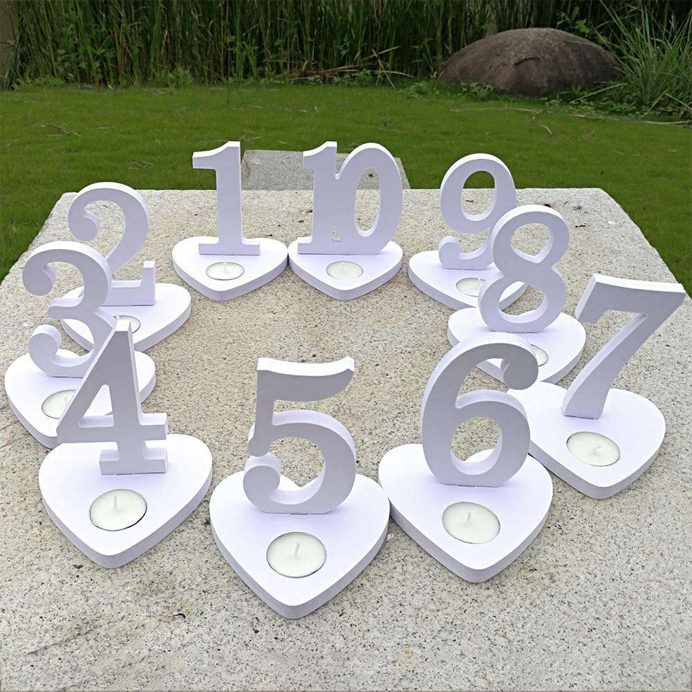 10pcs 1-10 Table Numbers Wedding Seat Cards White Candlestick Ornaments Birthday Party Decoration Wedding Table Decor, , www.suppashoppa.co.uk