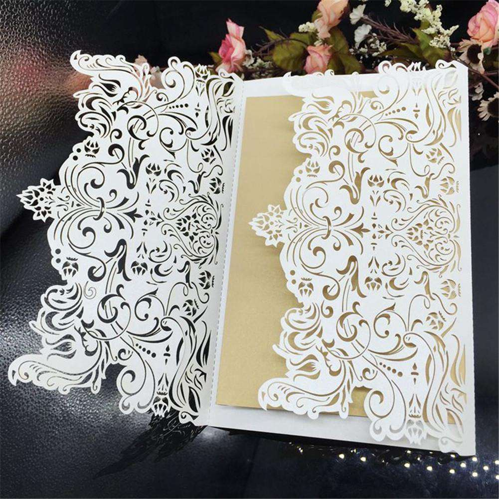 10pcs European Style Wedding Invitation Card Hollow Laser Cut Engagement Wedding Party Guest Invitation Card