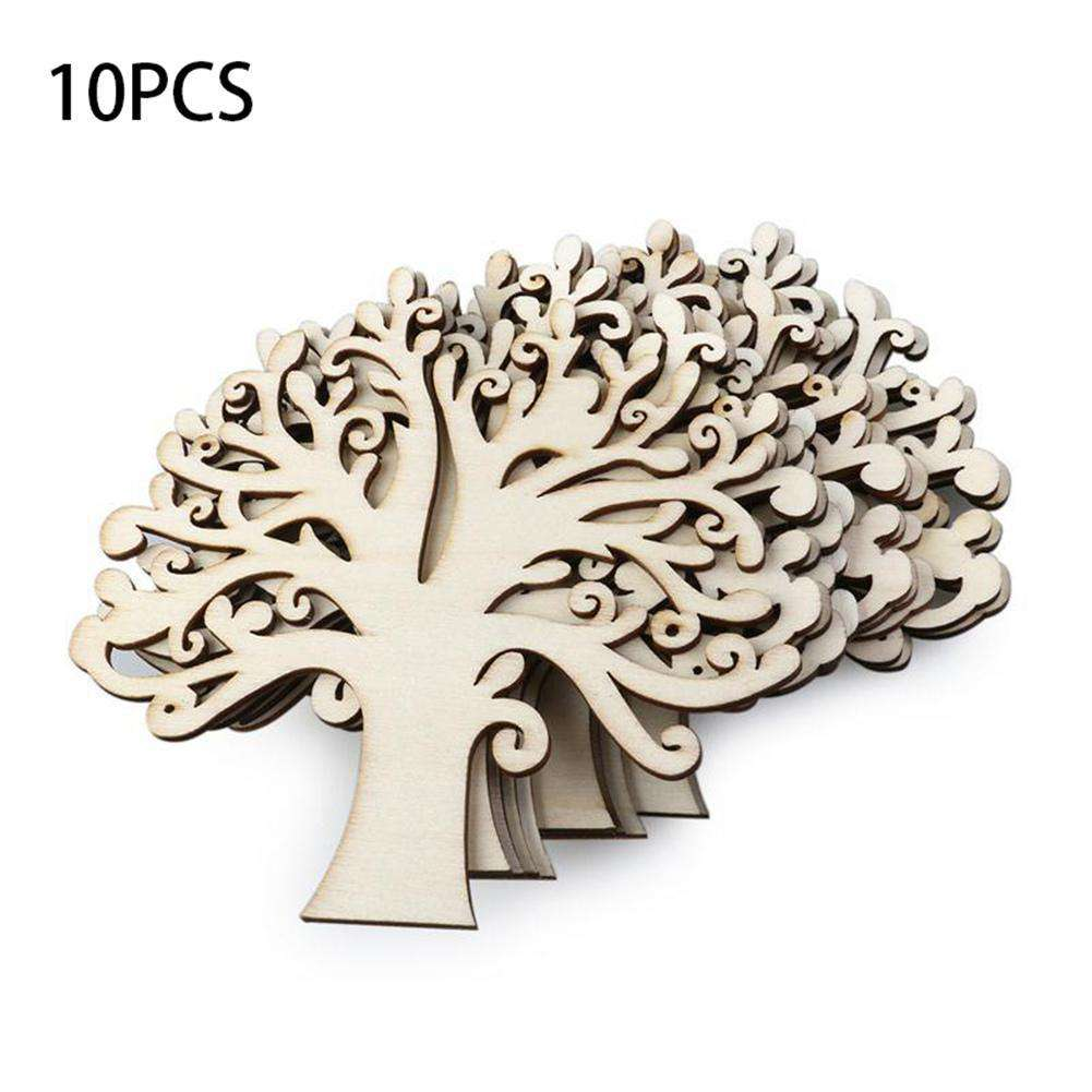 10pcs Wooden Trees For Hanging Christmas Tree Blank Decorations Gift Tag Shapes Xmas DIY Tree Decor