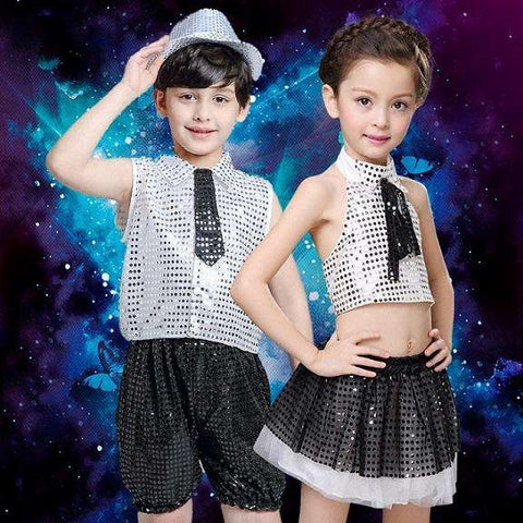 (10sets) June 1 children's private children show clothing runway stage clothing glitter jazz dance boy girl dance wear with hat, Black / 110cm, www.suppashoppa.co.uk