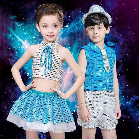 (10sets) June 1 children's private children show clothing runway stage clothing glitter jazz dance boy girl dance wear with hat, Blue / 150cm, www.suppashoppa.co.uk